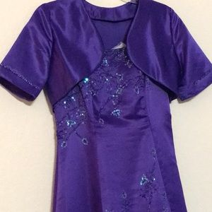 Deep purple dress with a small jacket